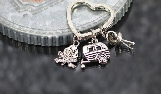 Camping Keychain, camper gift, rv travel trailer key chain, camping gift, camp fire charm keychain, RV gift, happy camper key chain