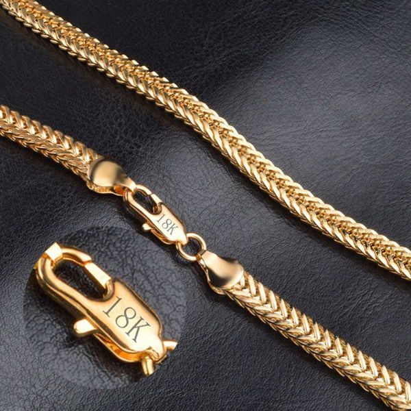 Cool Punk 18K Gold Plated Chain Necklace Women Men's Jewelry Gifts 50cm