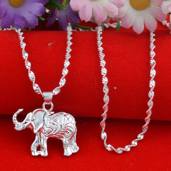 Fashion Jewelry 925 sterling silver Elephant Necklace+Pendant Nice Uni Gift 24