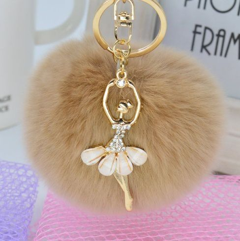 Women Plush Bag Accessories Cute Angel Diamond Car Key Chain Handbag Accessories Plush Rabbit Hair Bulb Key Chain Pendant