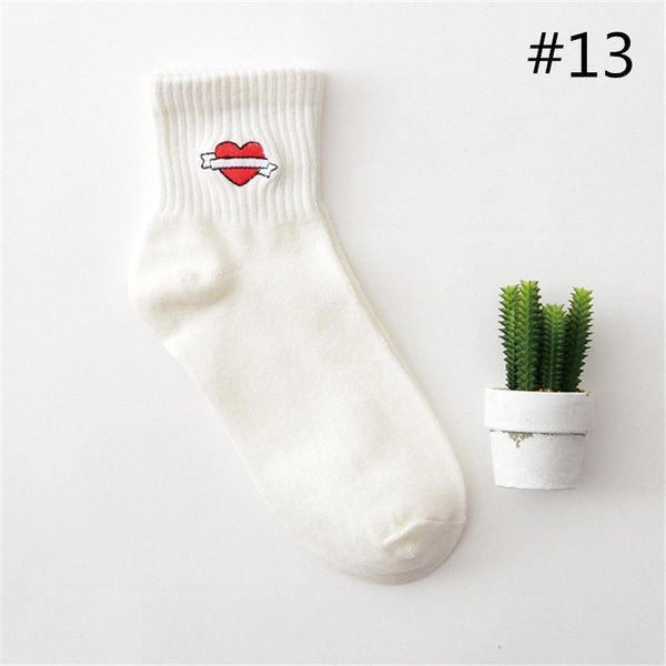 35-40 Unisex Ulzzang Japanese Black Harajuku Embroidery Pattern Cartoon Fun Socks Threaded Creative Couple Socks