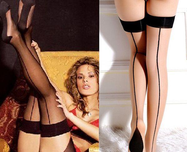 Fashion Womens Girl Slim Black Underwear Heal Seamed Seam Thigh High Stockings Bottoms Socks Gift One size