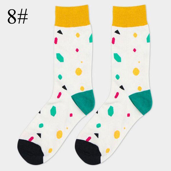 Happy Soft Summer Spring Art Jacquard Striped Dot Men Long Cotton Socks Winter Warm