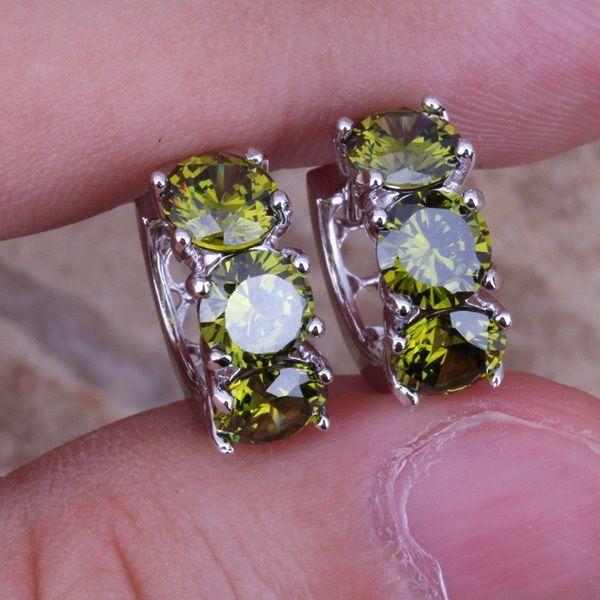 Delicate Green Emerald 925 Sterling Silver Huggie Hoop Earrings For Women