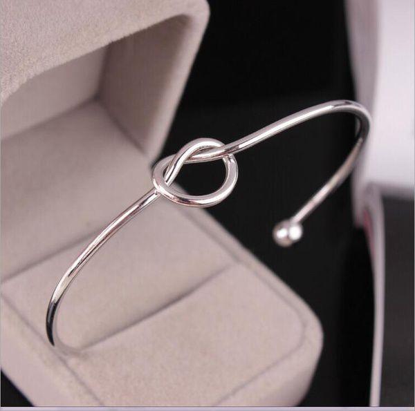 Fashion Simple Wire Knot Bracelet Manchette Femme Silver Plated Cuff Bracelets Bangles For Women Metal Bracelet Jewelry