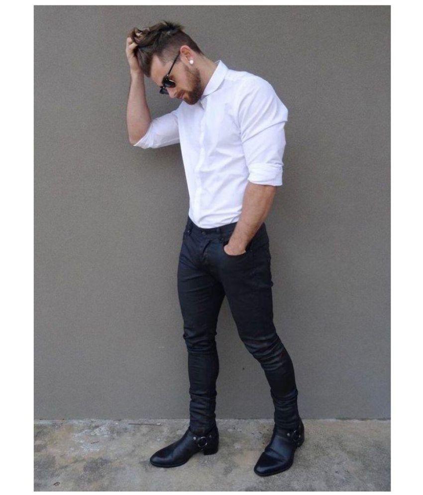 Dmor Black 100 Percent Cotton Unstitched Shirts & Trousers
