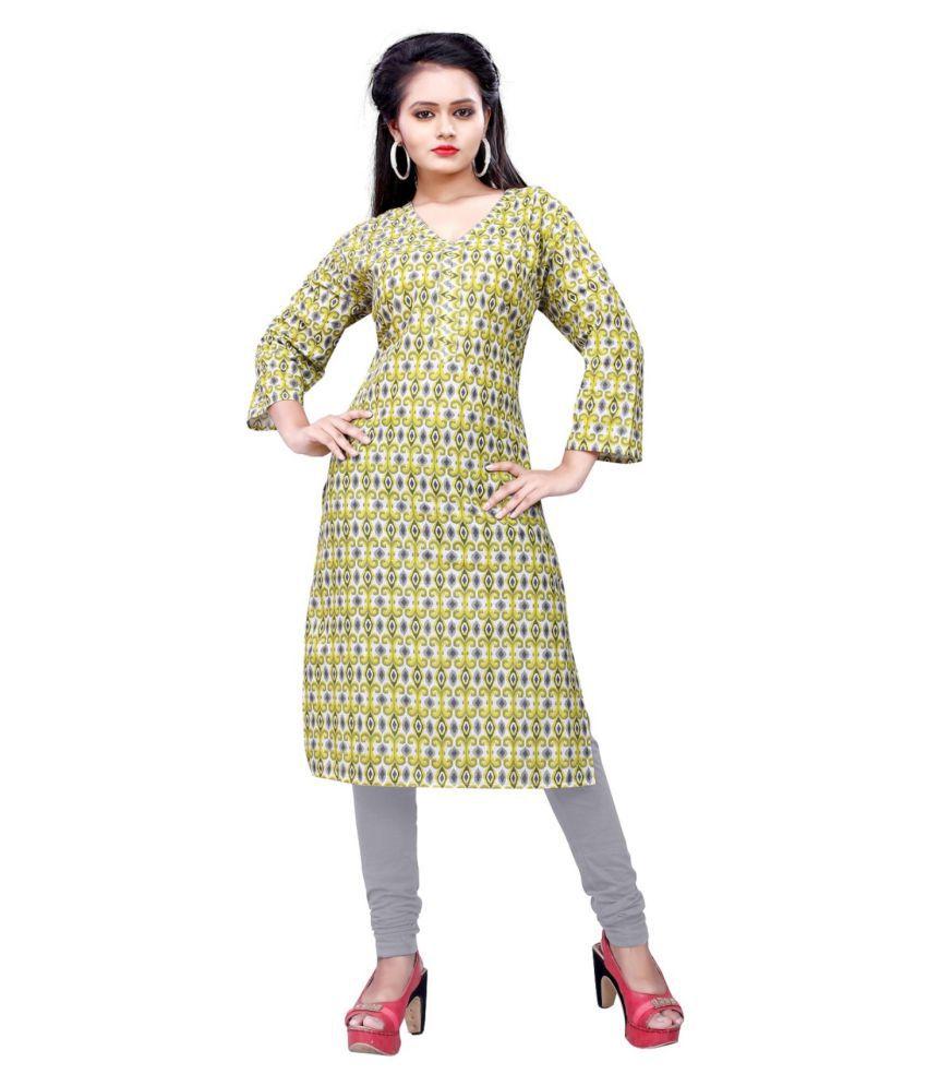 Tithi Kumari Multicoloured Poly cotton Straight Kurti