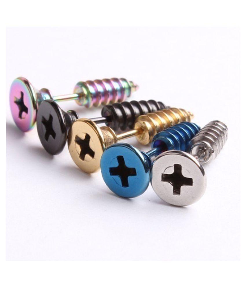 1 pair Cool screw piercing jewelry earrings
