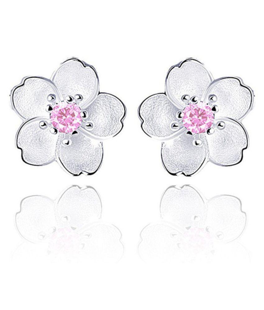 Fashion Jewelry 925 Sterling Silver Cherry Blossom Earrings Flower Stud Earrings for Women