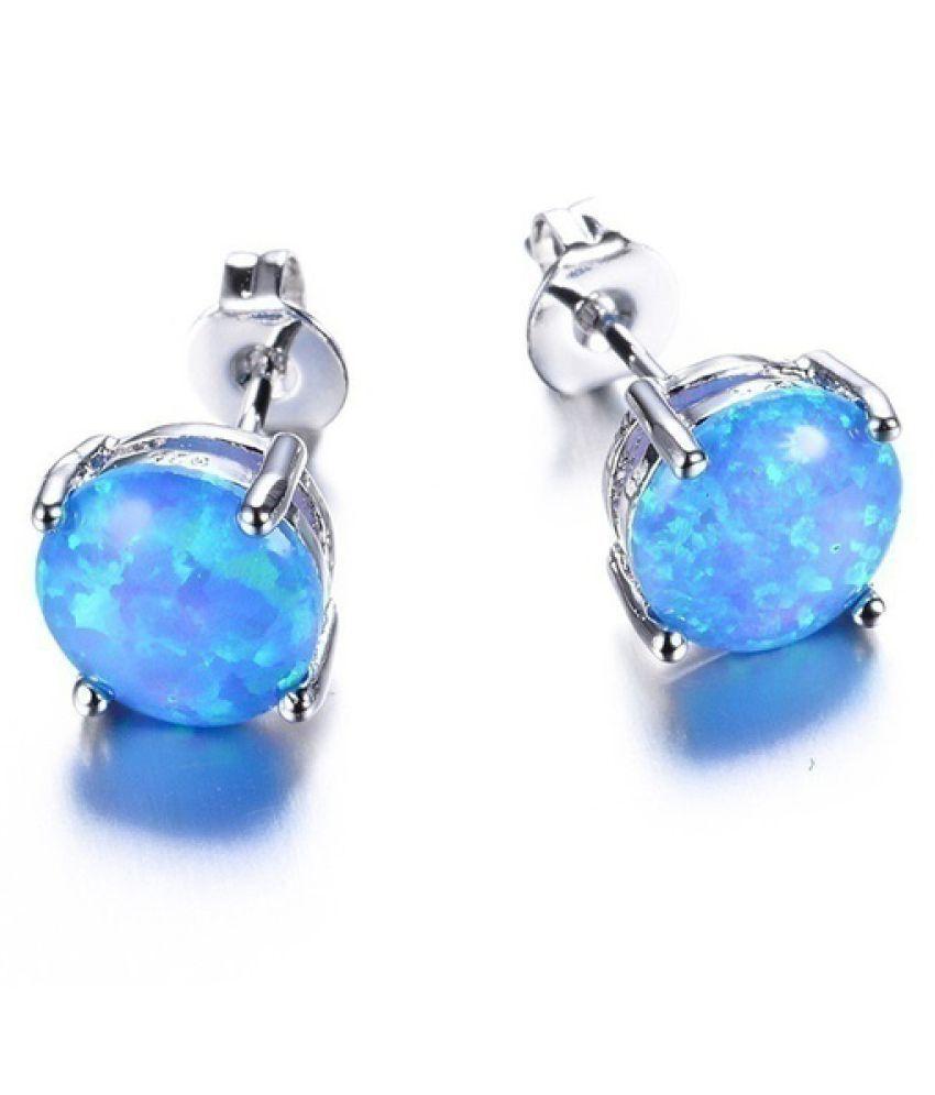Fashion Jewelry Elegant Round 5 Color Fire Opal 925 Sterling Silver Women's Stud Earrings