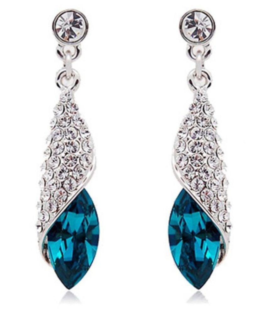 New 925 Sterling Silver Water Drop Fine Jewelry Crystal Earrings for Women Fashion Fine Jewelry