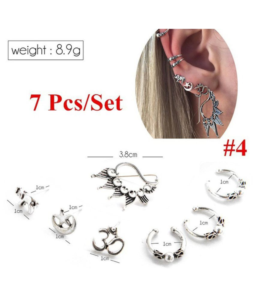 Vintage Owl Leaves Alloy Stud Hoop Earring Set Boho Women Silver Arrow Fatima Hand Carved Ear Clip Jewelry Kit 7 Pcs 8 Pcs Set
