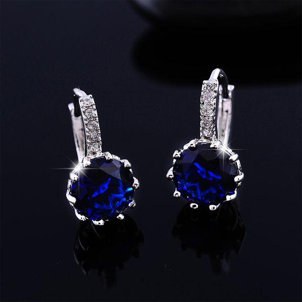 new 925 Sterling Silver Ear Hook Crystal Rhinestone Hoop Earrings