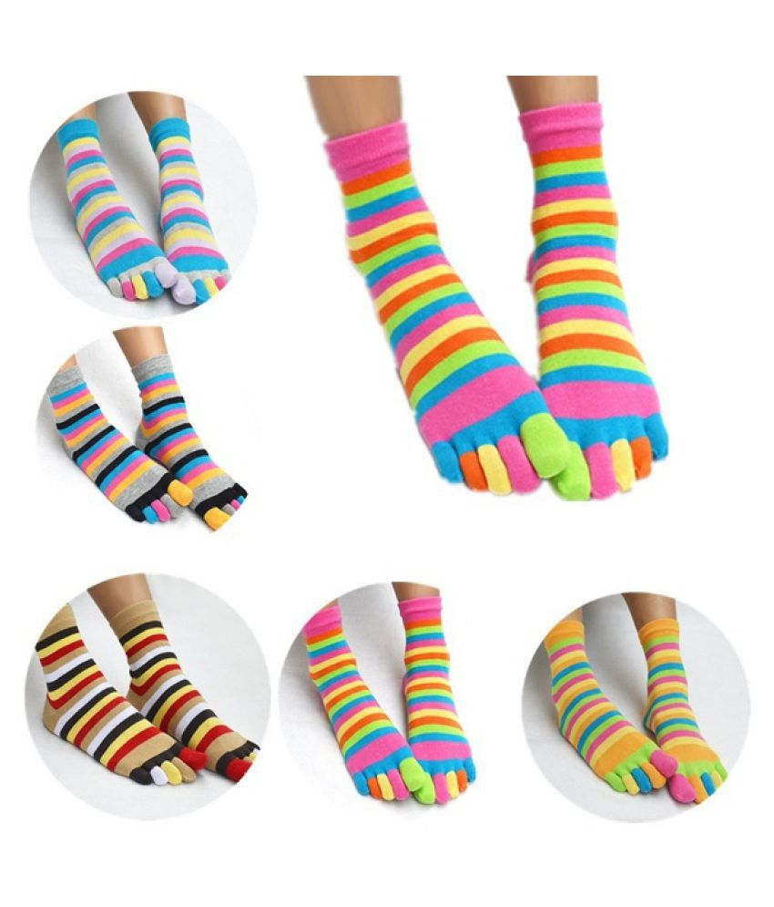 265e01850 ... 1* Pairs Rainbow Colorful Socks Women'S Girl Color Stripes Five Finger  Toe Socks-GSM ...
