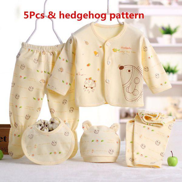 5/8PCS Newborn Baby Cotton Striped Jumpsuit +Hats+Socks+Bib+Tops+Pants Outfits 0-3M