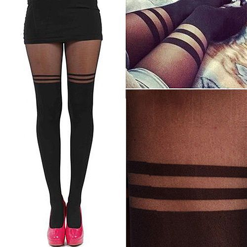 Enchanting Women's Vintage Sexy Stockings Pantyhose Mock over the Knee Double Stripe Sheer Tights EAS