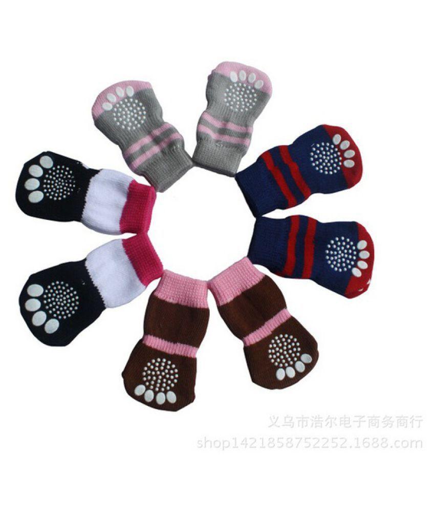 New 4pcs Pet Dog Pattern Non-slip Socks Paws Cover Shoes Size S-L