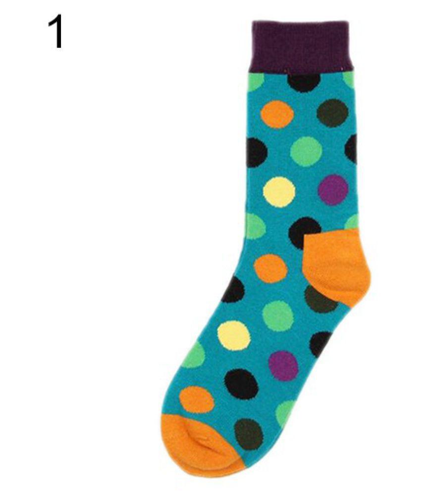 Women's Men's Fashion Multi-Color Cute Polka Dots Casual High Quality Cotton In Tube Dress Socks