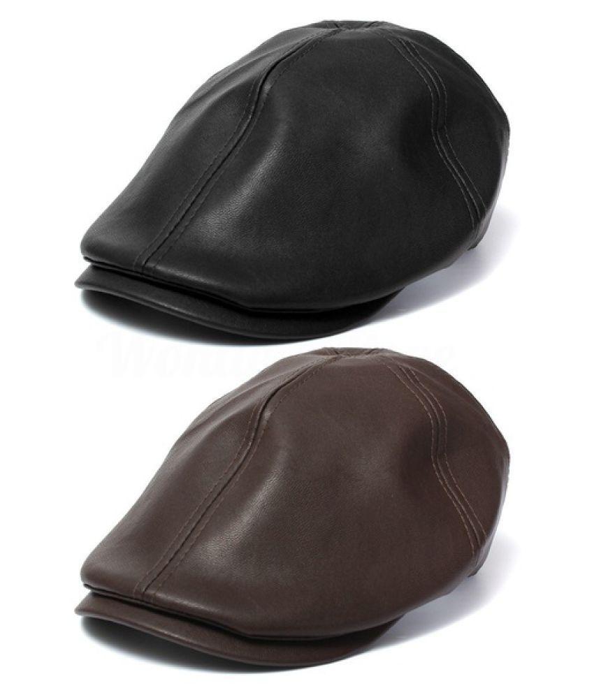 ... Fashion Men Women Leather Ivy Cap Bonnet Newsboy Beret Cabbie Gatsby  Flat Golf Hat ... b38c897996