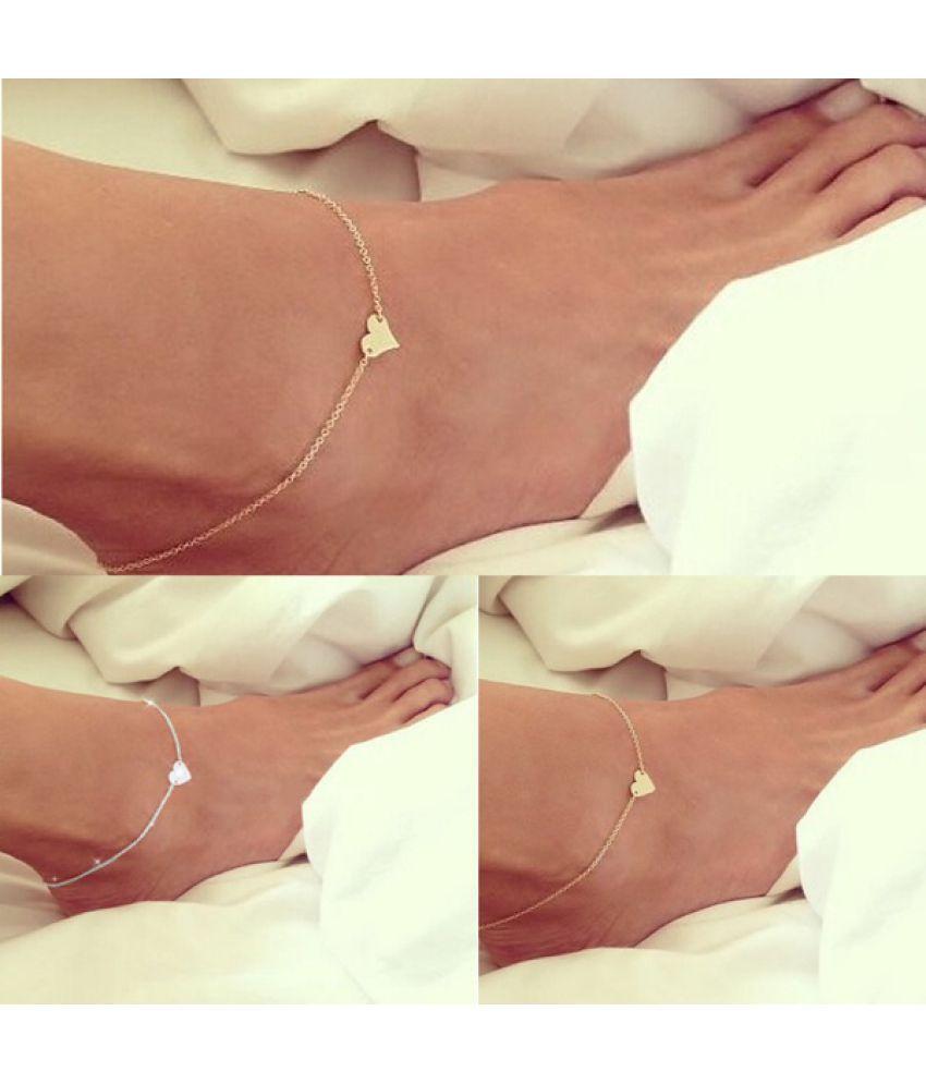 Fashion Women Adjustable Gold Silver Sweet Love Heart Foot Chain Ankle Bracelet