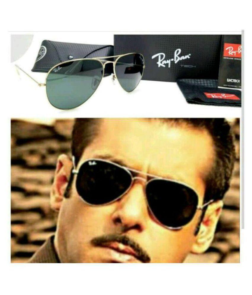 Rayban Stylish Sunglasses Green Aviator Sunglasses ( AVI>GOLD. )
