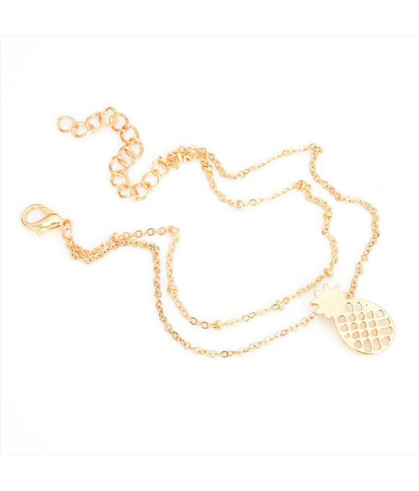 Women's Fashio Gold Acrylic Pineapple Chain Anklets(1/pc)