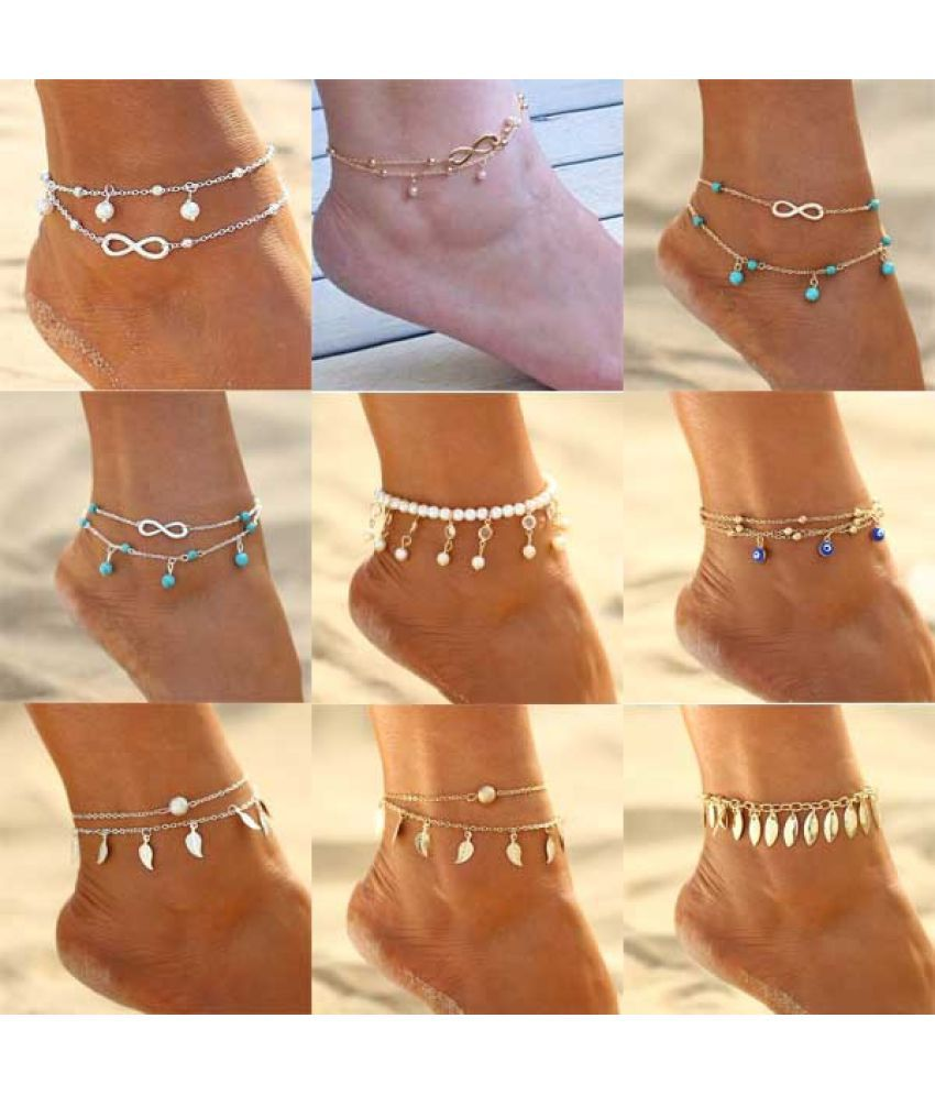 Fashion Infinity Turquoise Pearl Pendant Foot Chain Anklet Summer Beach Gold Silver Color Elegant Leaf Tassels Women Anklets Jewelry