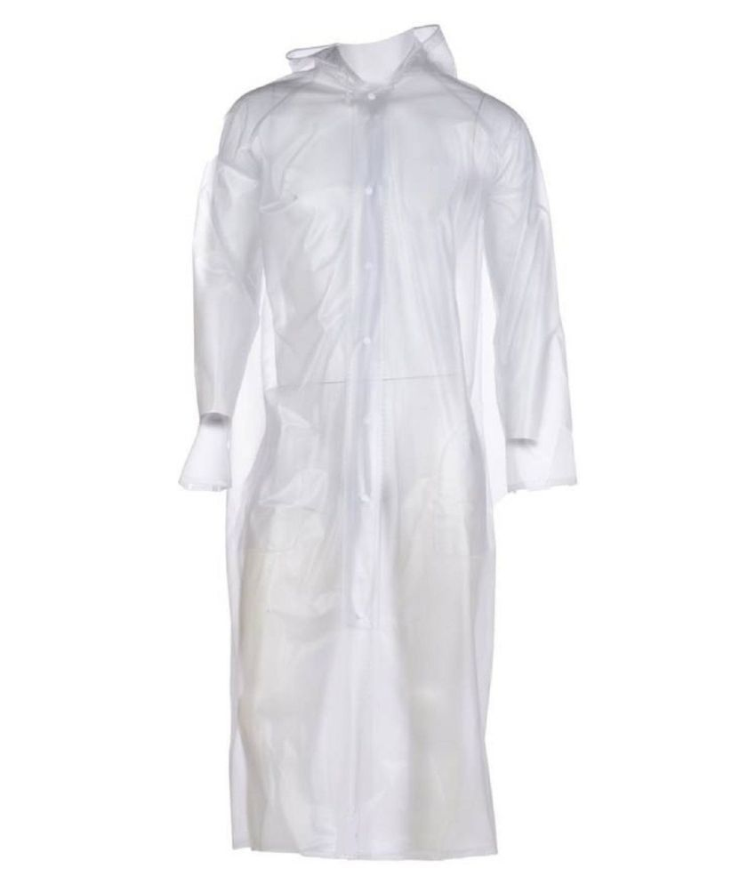 Hani Fashion PVC Long Raincoat - White