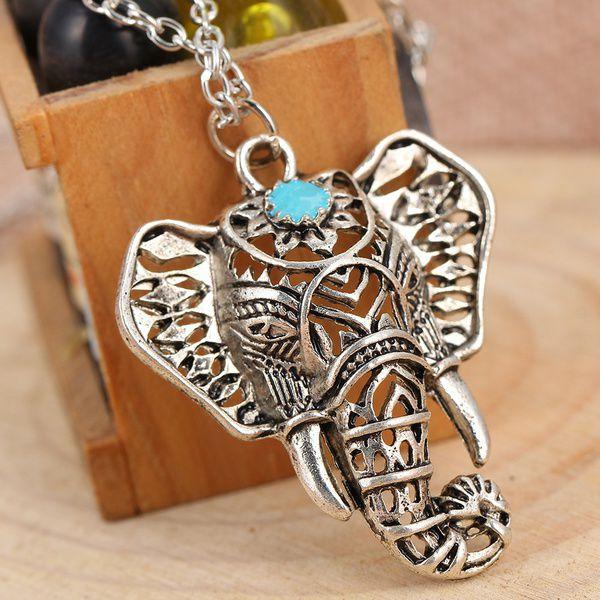 1pcs Women's Retro Tibetan Silver Elephant Pendant Necklace Jewelry