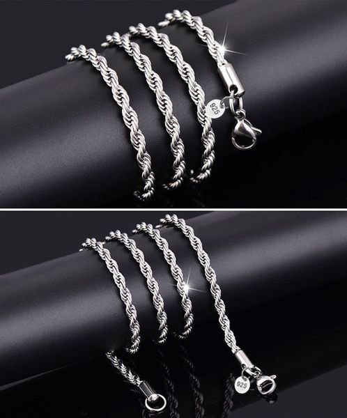 Italy Twisted Chain Necklace Men Women Fashion 925 Sterling Silver Necklaces Bride Wedding Engagement Chain Necklace (Size: 16-30inch, 2mm)