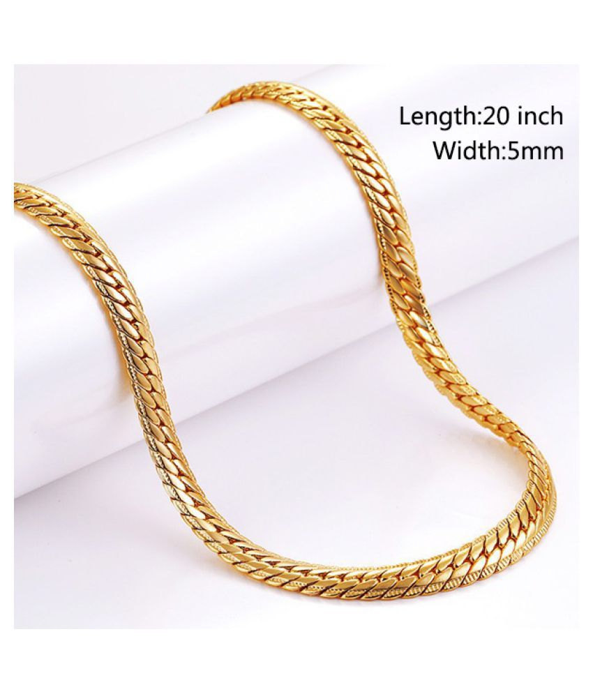 5mm Classic Mens Necklaces 18K Gold Plated Chain Necklace for Men