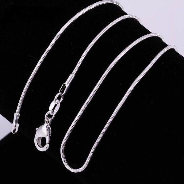 8 Sizes Snake Smooth 925 Sterling Silver Italy Chain Necklace With Lobster Clasps Link for DIY Charms Pendant Wedding Party Fine Jewelry 16-30inches