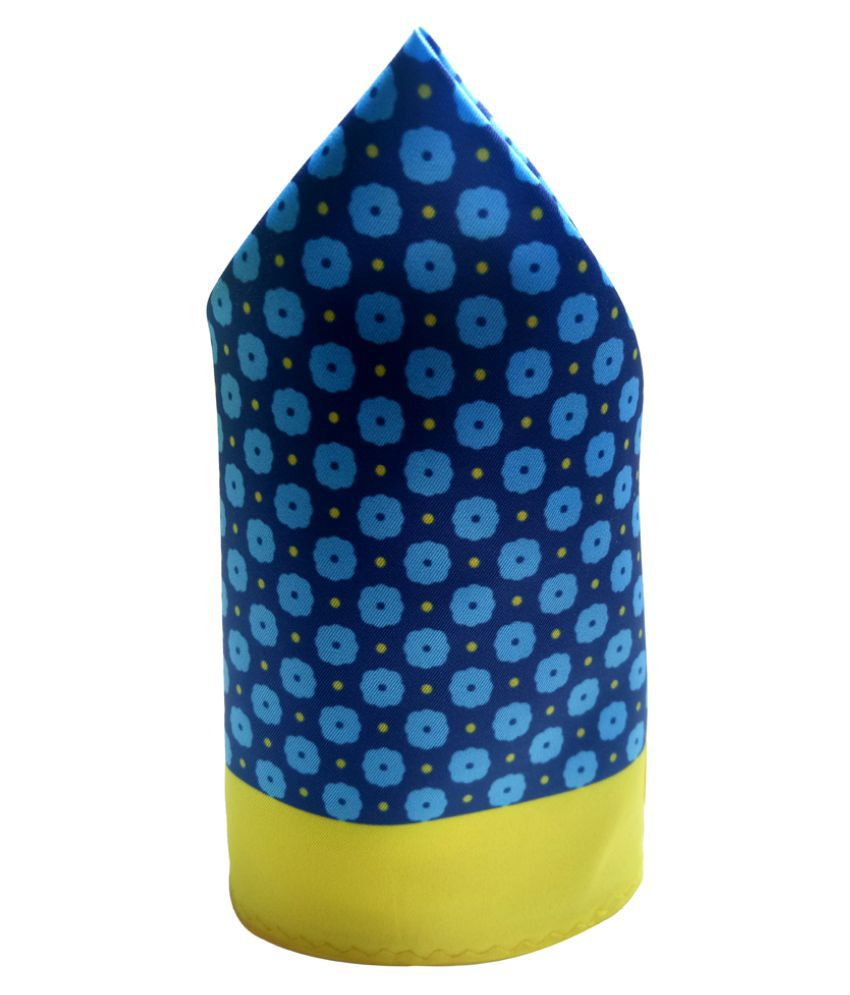 Mentiezi Poly Silk Blue & Yellow Color Printed Pocket Square with Yellow Color Border