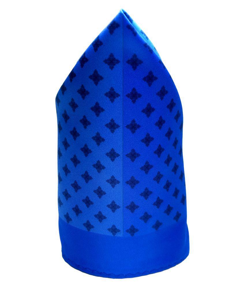 Mentiezi Poly Silk Multicolor Printed Pocket Square with Blue Color Border