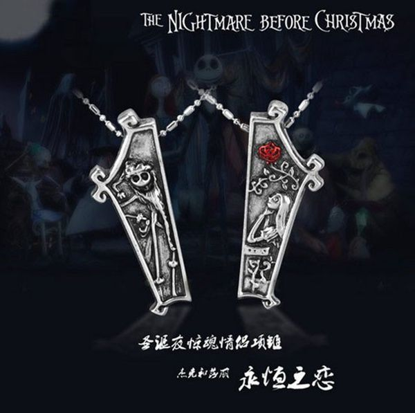 The Nightmare before Christmas Necklace jack and Sally Necklace love necklace Wholesale Jewelry