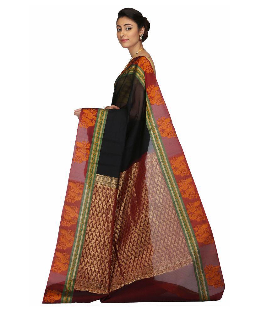 India Sari House Black Cotton Silk Saree