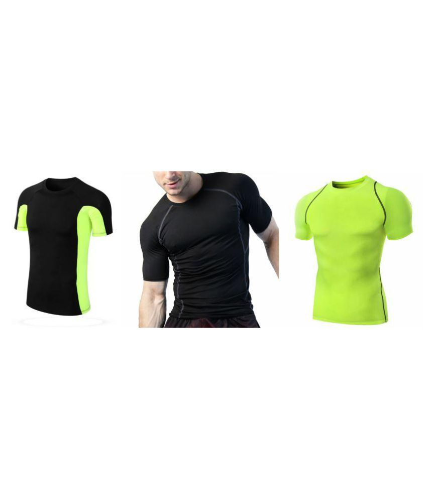 Zesteez Black Half Blk Green and neon green Men ultra stretchable gym-  workout compression support tshirt in premium Quality   fabric || compression Support || GYM || YOGA|| Active-  wear || Sportswear|| cycling||Running