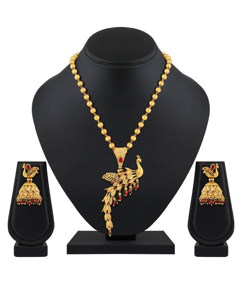 554c9e1475f49 Asmitta Jewellery Brass Golden Matinee Traditional Gold Plated Necklaces Set