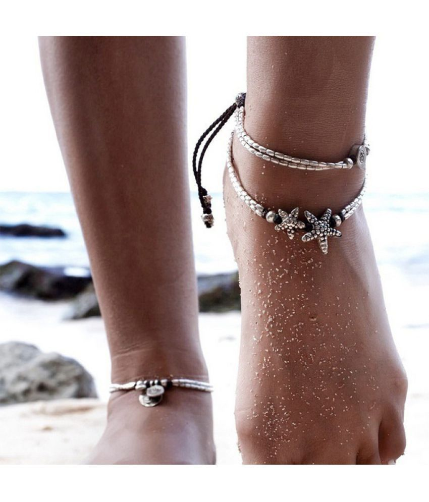 Bohemian Vintage Yoga OM Starfish Ankle Bracelet Ethnic Runic Stones Pearl Anklet Chain for Women Foot Ring Jewelry