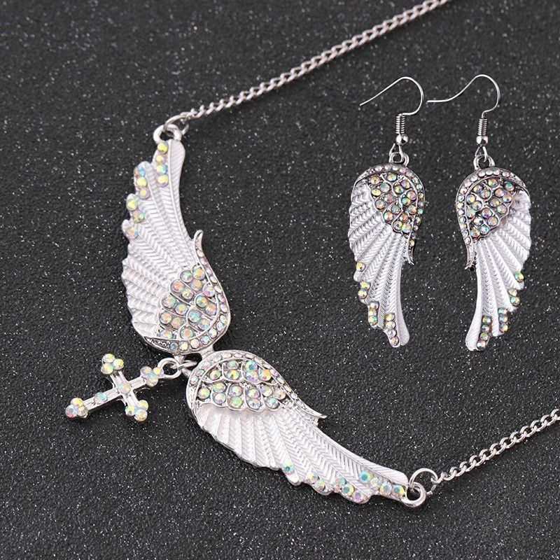 Crystal Dangle Pendant Earrings Studs + Creative Angel Necklace Ear Wings Chic  Wings Luxury