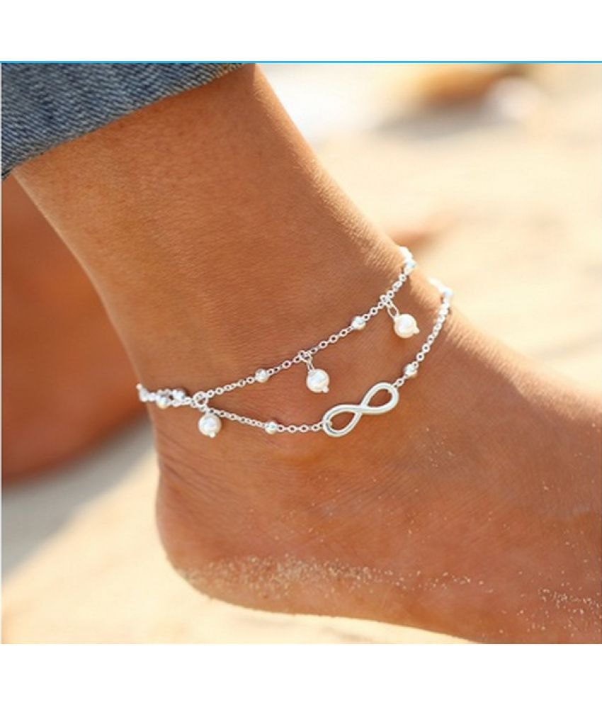 Simple All-Match Infinity Anklet Creative Silver Plated Goldplated Double Chain Cross Shape Pretty Girl Pearl Bracelet Jewelry