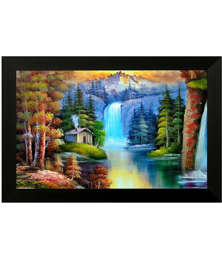 Style as Fashion Beautiful Waterfall MDF Painting With Frame