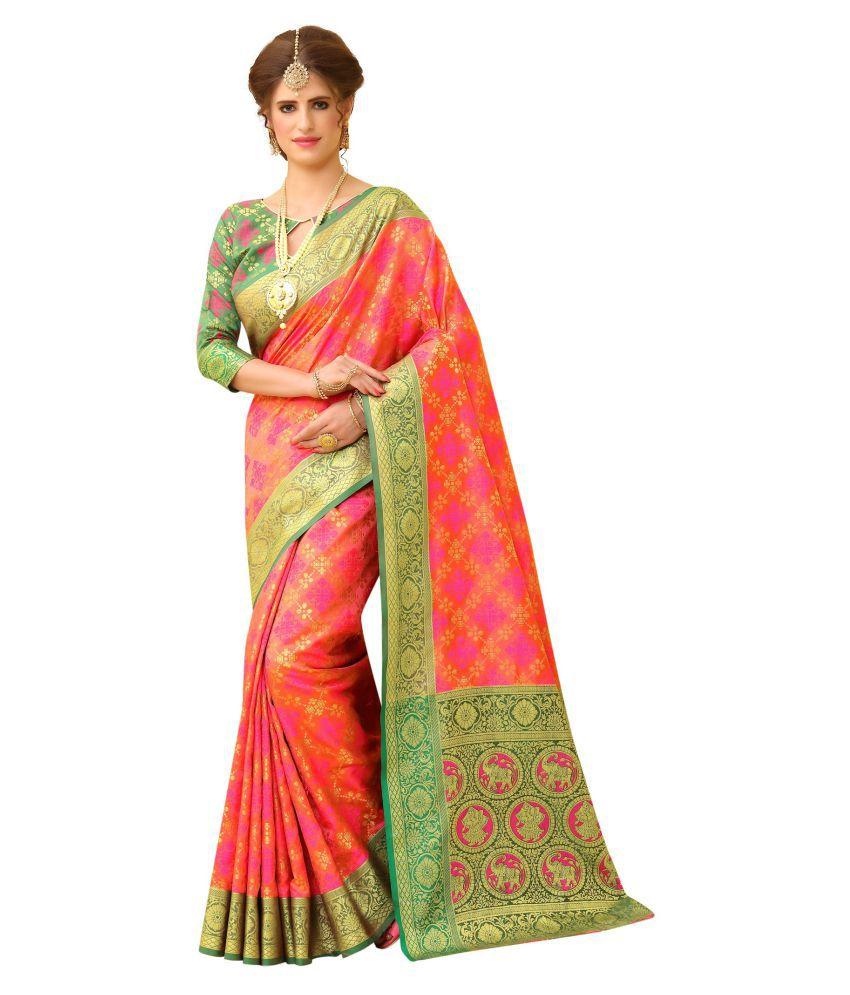 Fab Silk Orange Banarasi Silk Saree