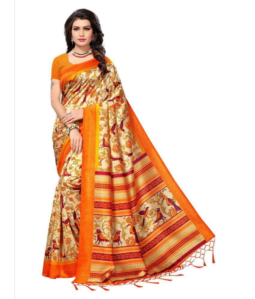 Femiro Fab Orange Cotton Silk Saree