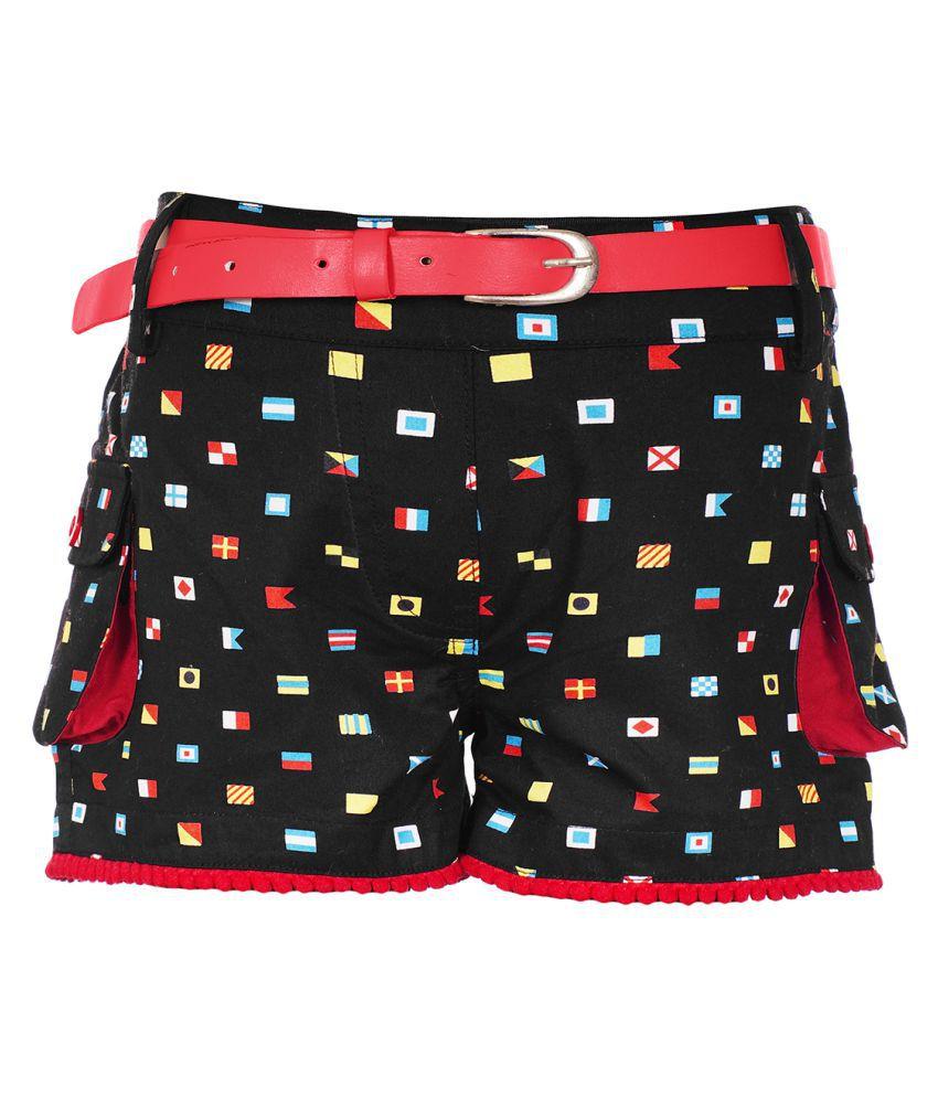 Naughty Ninos Girls Black Flag Printed Shorts with belt