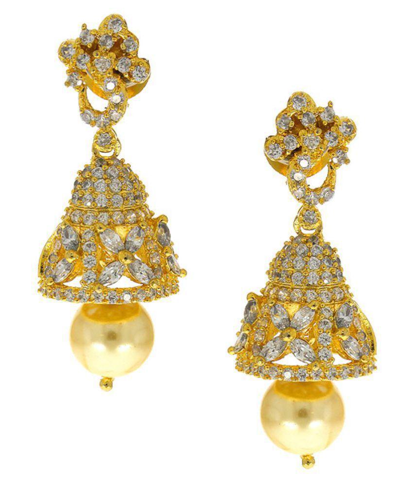 Anuradha Art Golden Finish Studded American Diamonds Stone Traditional Jhumka/Jhumki Earrings For Women/Girls