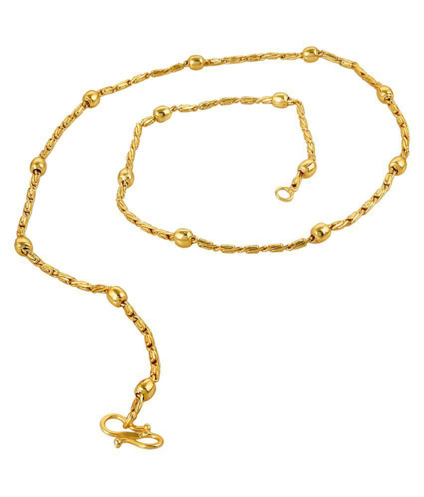 Gold Plated Gold Color Light Weight Sleek Wedding/Daily wear Chain for Men by GoldNera