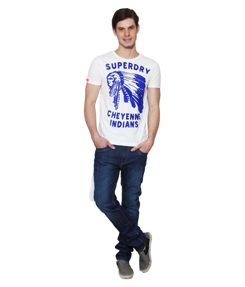 Super Dry White Round T-Shirt Pack of 1