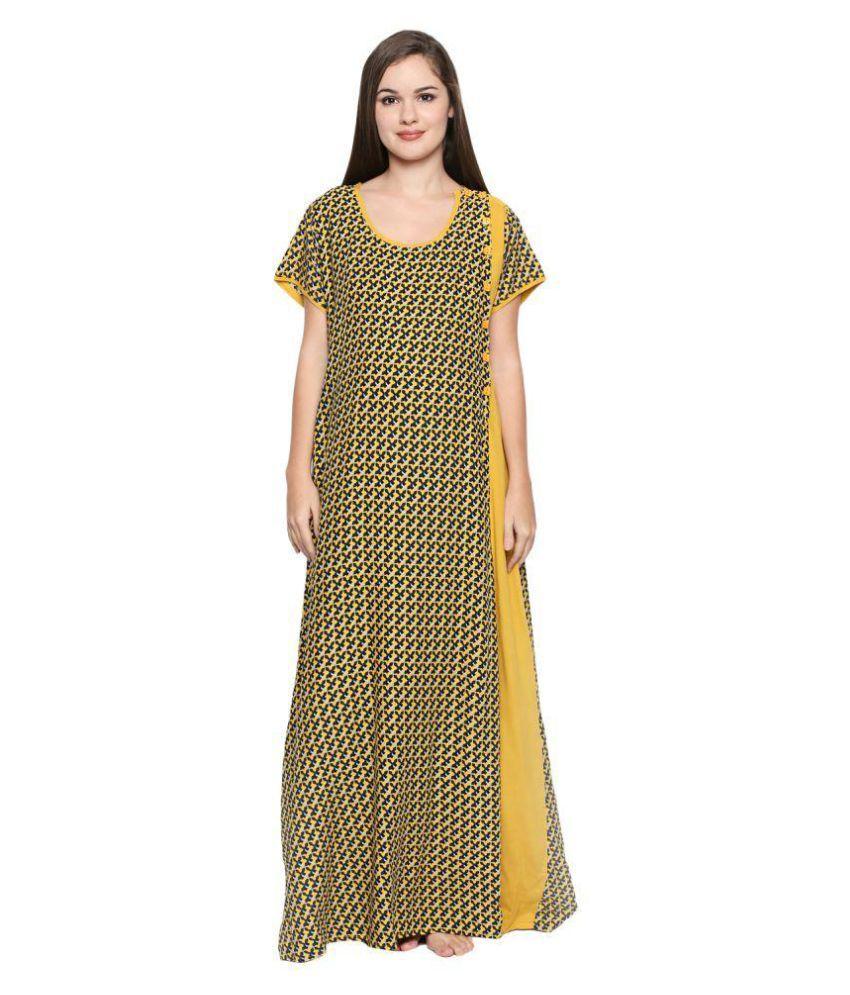 Buy Valentine Cotton Nighty & Night Gowns - Yellow Online at Best ...