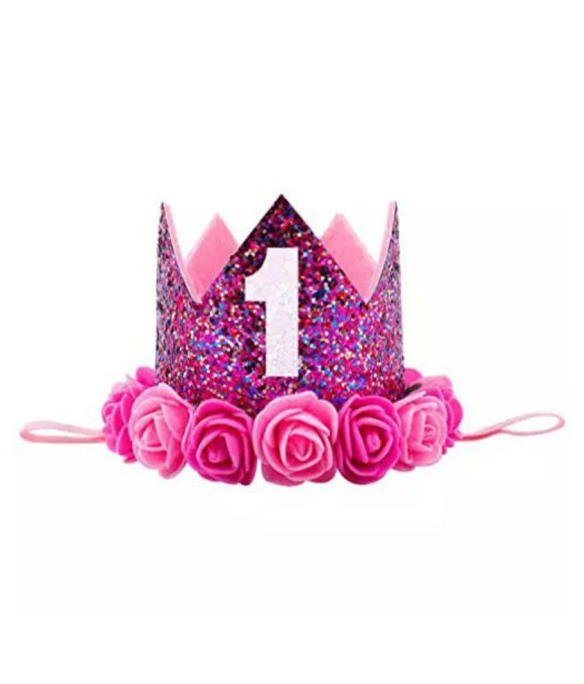 f5342255ff7 Ziory 1 Pc Purple Color Rose Flower Kids Baby 1st Birthday Hat Glitter Crown  Flower Head Hair Band Party Headwear for Baby Boys and Baby Girls  Buy  Online ...